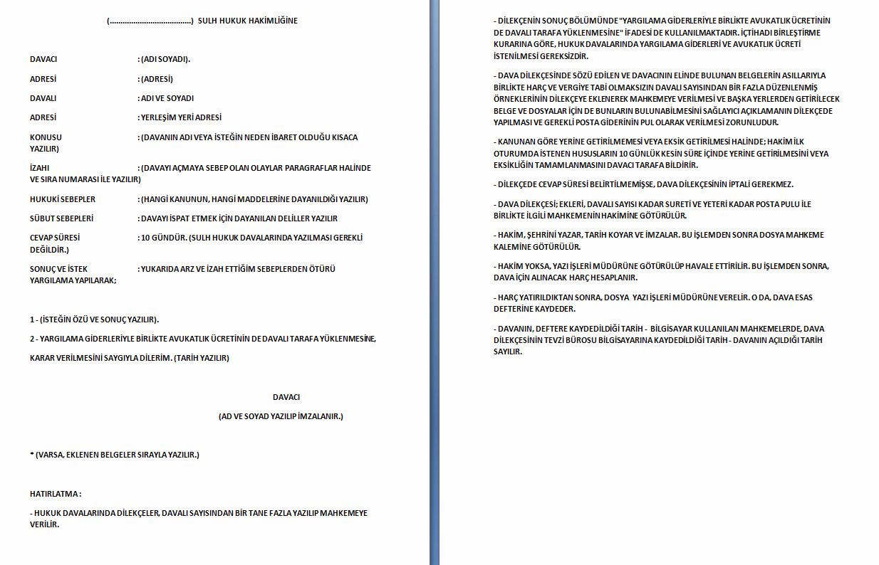 Sulh (Asliye) Hukuk Mahkemesine Örnek Dilekçe
